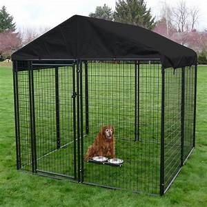 Lucky dog black welded wire dog kennel dog kennels at for Puppy dog kennels