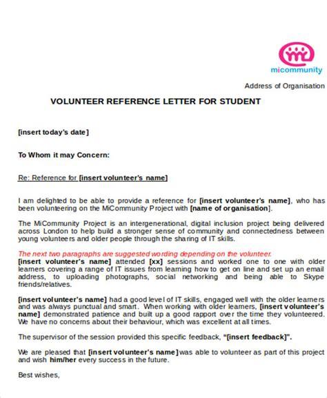 volunteer letter of recommendation 7 sample reference letter for students sample templates 25455 | Reference Letter for Student Volunteer
