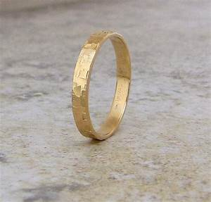 mens wedding band hammered gold wedding ring 14k With gold wedding ring for her