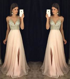 2017 Newest prom dress,V-neck prom dresses, Leg slit prom ...