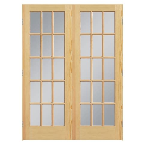 Shop Masonite Clear Glass Pine Interior Door (common 60