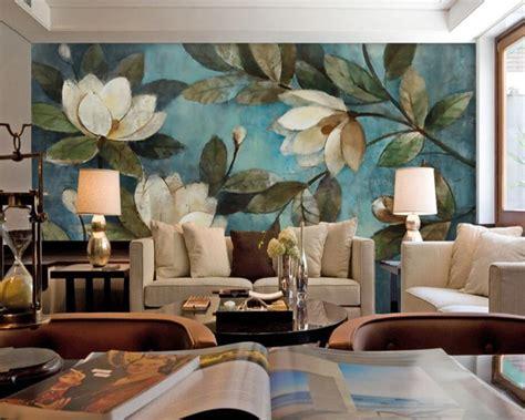 beibehang large mural oil painting floral blue gardenia