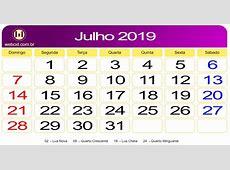 Calendário de Julho de 2019 webcid