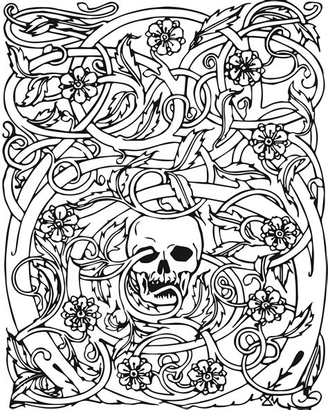 adult coloring pages  coloring skull coloring