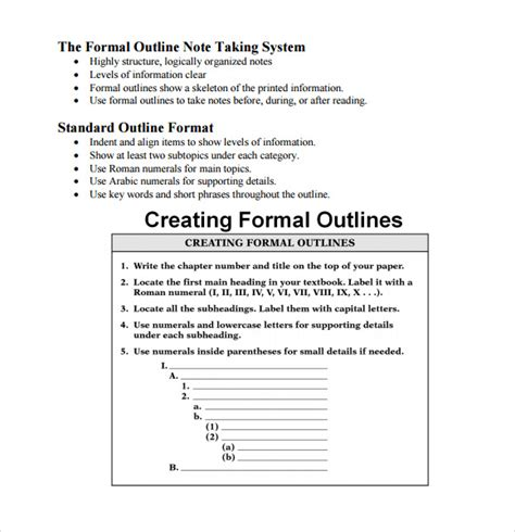 outline notes template 6 sle blank outline templates sle templates