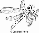 Coloring Insect Cartoon Illustration Dragonfly Funny Mosquito Character Vector Bug sketch template