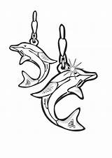 Coloring Jewelry Earrings Dolphin Sheet Template sketch template