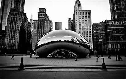 Chicago Cloud Bean Gate Sculpture Monochrome Desktop