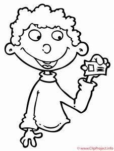 Nino con billete dibujo para colorear gratis