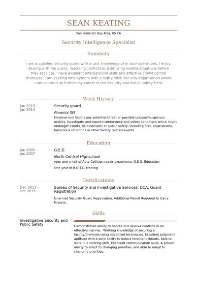 Bodyguard Resume by Security Guard Resume Template 5 Student Entry Level Security Guard Resume Template Security