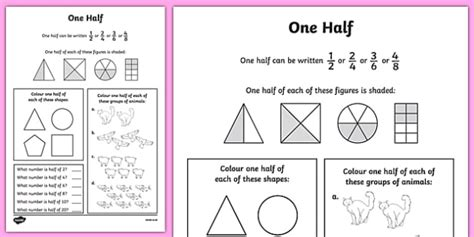 Fractions Halves Worksheet / Activity Sheet