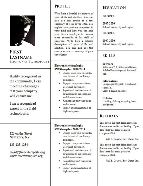 Doc Resume Link by Template 946 Free Cv Template Dot Org