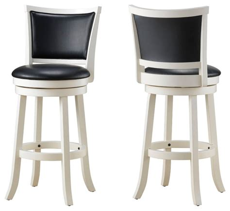 black swivel counter stool with white wood contemporary