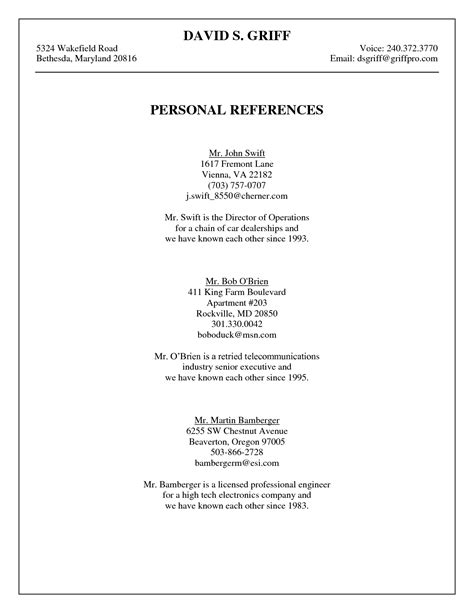 Reference Outline For Resume by Professional References Page Template Resume Cover Letter Exle