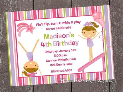 gymnastic birthday invitations bagvania