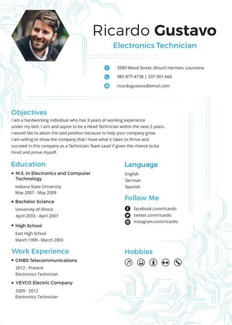electronics resume template   word  document