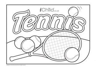 colouring  picture   tennis theme great