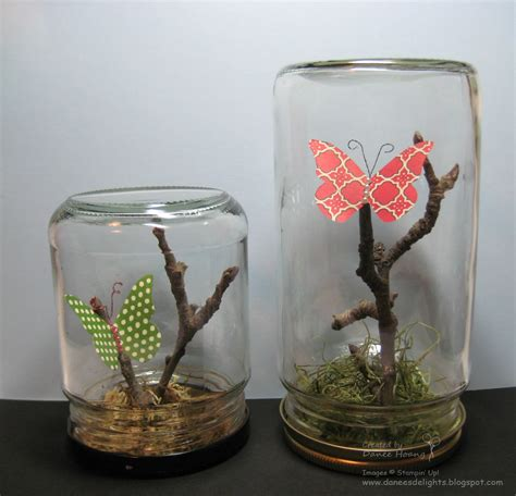 danees stampin delights upcycled glass jars butterfly