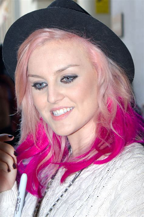 Perrie Edwards Wavy Pink Angled Two Tone Hairstyle