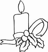 Coloring Candle Pages Christmas Simple Decoration Light Night Ribbon Print sketch template