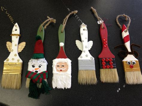 hand painted paint brush ornaments  crafts