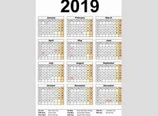 Blank School Holidays Calendar 2019 Malaysia 2019