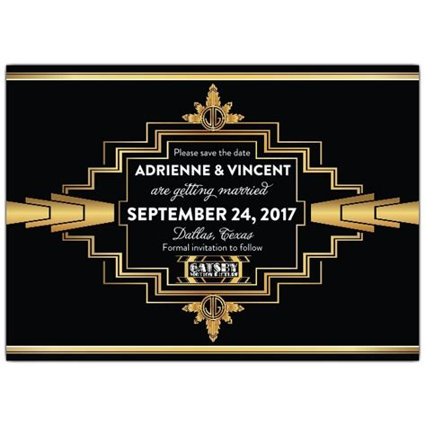 gatsby save  date deco cards paperstyle
