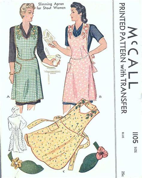 kitchen apron designs 1940s slimming apron pattern mccall 1105 classic 40s 2188