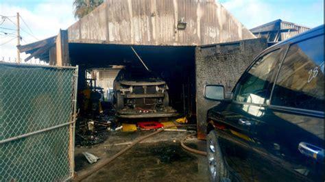 flames destroy el cajon auto repair shop  car