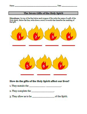 the 7 gifts of the holy spirit lesson plan the religion