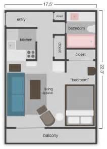 390 Sq FT Small Studio Apartment Floor Plans
