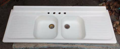 vtg cast iron white porcelain double drainboard basin