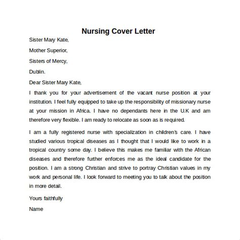 nursing cover letter     documents