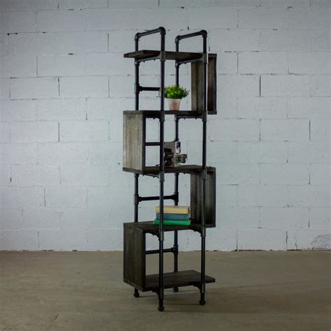 Narrow Etagere by Furniture Pipeline Tucson Modern Industrial Black 69 In