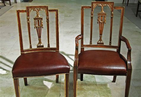 neoclassical dining chairs with leather brass nails gold
