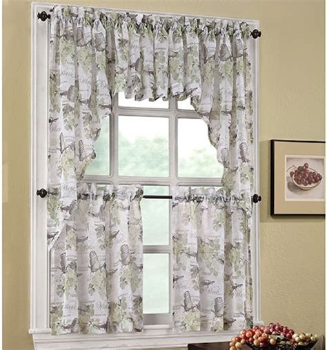 Wine themed kitchen curtains with fruit wine print