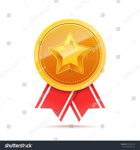 14764 award ribbon icon vector 3d gold medal ribbon stock vector 537992344