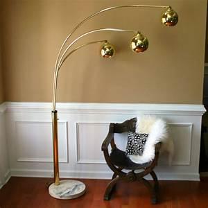 vintage brass arc floor lamp mid century orb lamp metallic With 3 globe arc floor lamp antique brass
