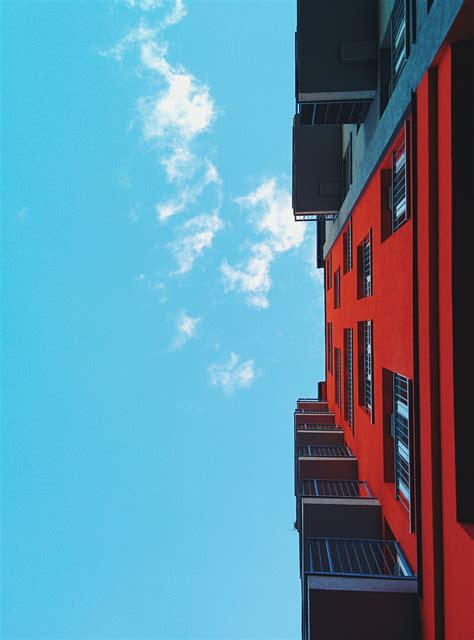 red black wall building  stock photo