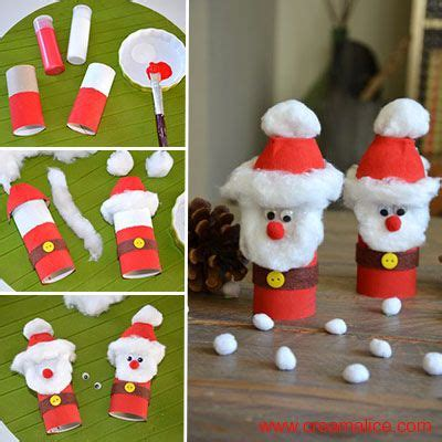 diy pere noel version recup en rouleau de carton