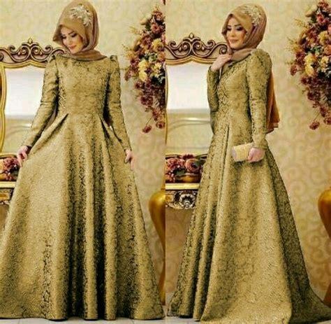 jual gaun pesta warna gold baju muslim kekinian gamis