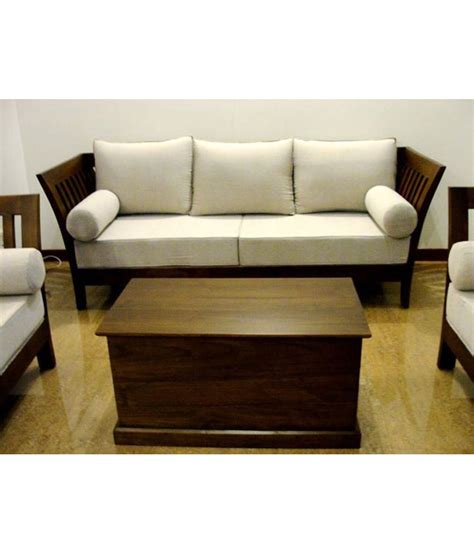 Solid Wood Sofa Set by Stratego Solid Wood Sofa Set With Cushion And Covers 3 1 1