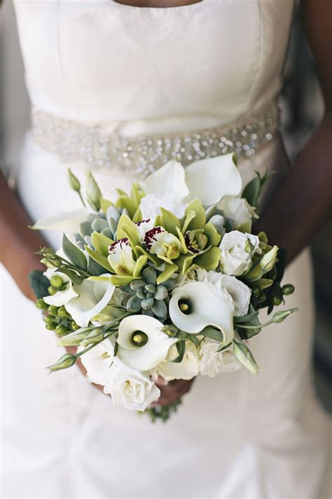 wedding succulent orchid  calla lily bouquet fall