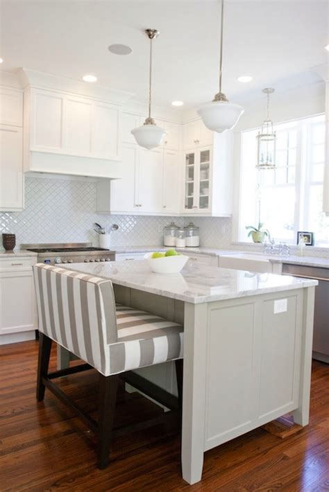 Bench For Kitchen Island Striped Island Bench Transitional Kitchen Benjamin Dune White Caitlin Creer Interiors
