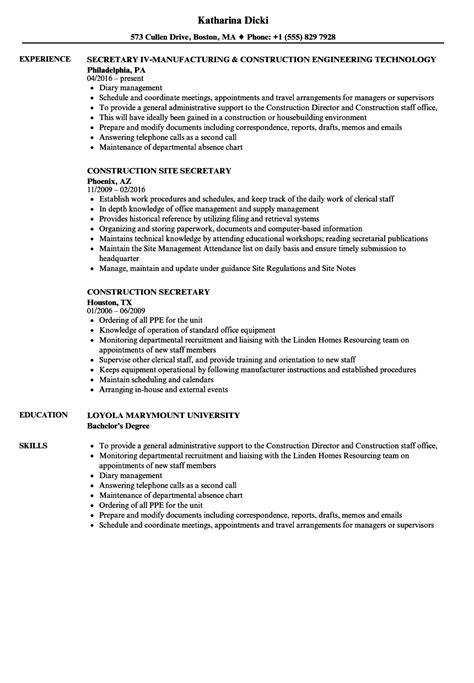 Construction Secretary Resume Samples  Velvet Jobs. Retail Resume Example. Project List Resume. Resume Building Software. Functional Resume Template Word. Do I Staple My Cover Letter To My Resume. High School Internship Resume. Business Development Resume. Resume Writers Houston