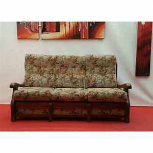 canape lit 3 places tissu fleuri accoudoirs bois n131 With tapis enfant avec bout canapé bois