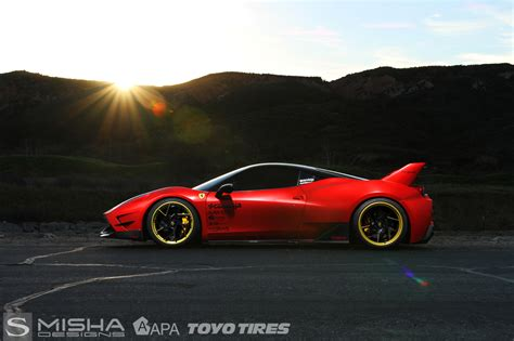 Gold jewelry may turn heads when you walk down the street, but driving by in a gold car will turn heads and drop jaws. Misha Designs Limited Edition Ferrari 458   Forged SV67-L   Savini Wheels - Savini Wheels