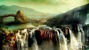 The, Castle, On, The, Cliff, Above, The, Waterfall, Wallpapers, And