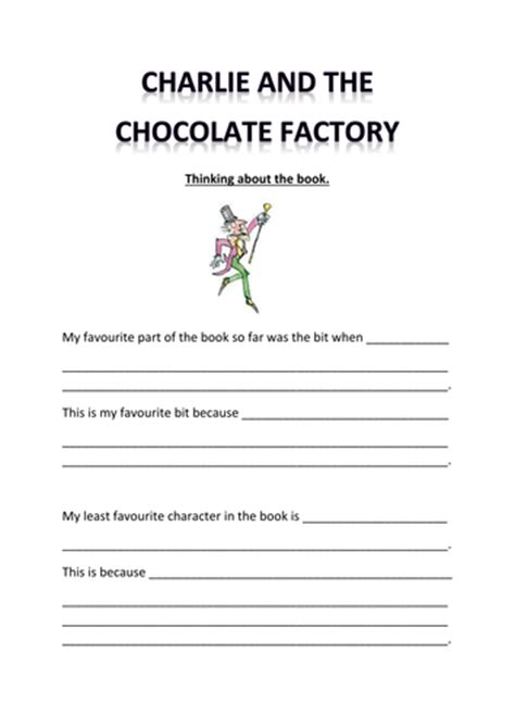 and the chocolate factory themed worksheet by