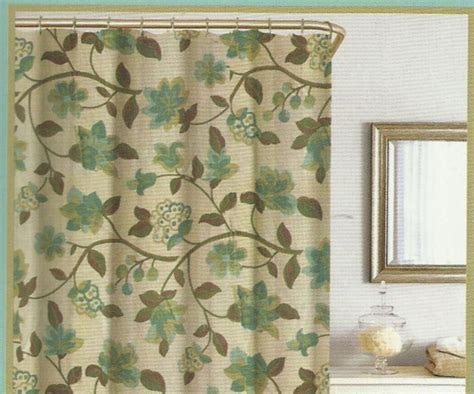 Green And Brown Shower Curtains by Floral Green Brown Turquoise Beige Silk Look Texture